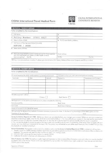 CIGNA INTERNATIONAL CIGNA international Travel Medical Form ...