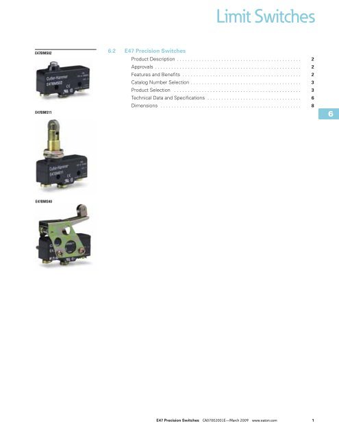 Business & Industrial 20A Eaton E47CMS04 Precision Limit Switch ...