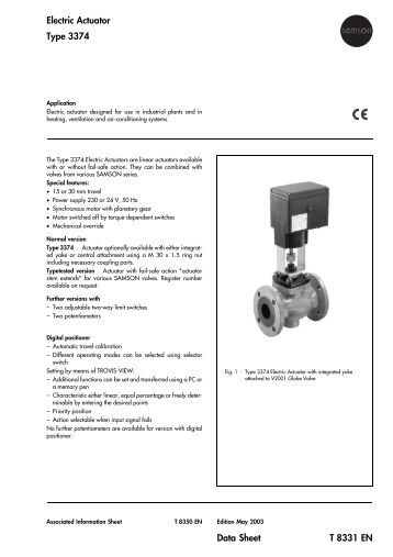 Data sheet t 8330 en electric actuators linear actuator for Types of linear motors