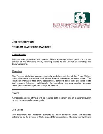Sample Job Description - Social Marketing/Communications Manager