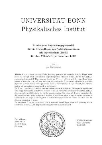 UNIVERSIT .. AT BONN Physikalisches Institut - Prof. Dr. Norbert ...