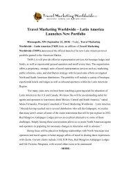 Travel Marketing Worldwide – Latin America Launches New Portfolio