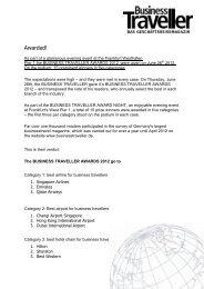 Awarded! - Business Traveller Awards 2012