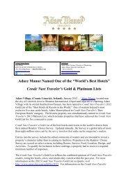 """World's Best Hotels"" Condé Nast Traveler's Gold ... - Adare Manor"