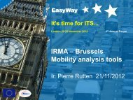 IRMA – Brussels Mobility analysis tools - EasyWay ITS
