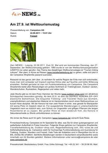 PDF :: fair-NEWS.de :: Am 27.9. ist Welttourismustag