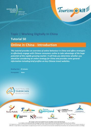 Online in China - Introduction - Australian Tourism Data Warehouse