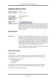 Magazine Business Plan - your new website