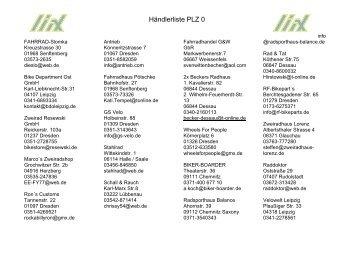 Händlerliste PLZ 0 - Liix