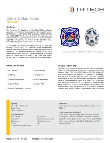 City of Dallas, Texas - TriTech Software Systems