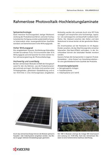 Rahmenlose Photovoltaik-Hochleistungslaminate - Tritec