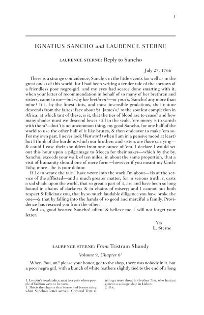 Reply to Sancho laurence sterne - WW Norton & Company