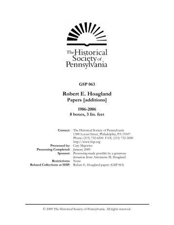 Robert E. Hoagland - Historical Society of Pennsylvania