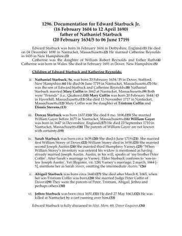 Docum Edward Starbuck - The Documented Genealogy of Curtis .