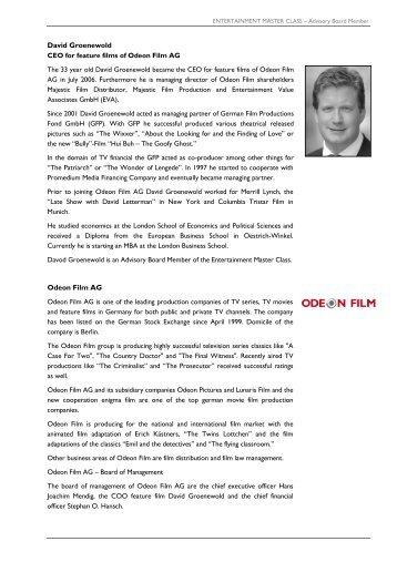 David Groenewold Odeon Film AG - Entertainment Master Class
