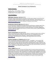 Exhibit Schedule & List of Exhibitors Exhibit Schedule - Isber