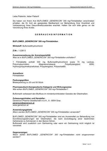 Buflomed Genericon 300 mg Ftbl - Genericon Pharma GesmbH