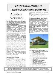 2 TSV Velden 1890 eV NEWS Nachrichten 2009/ 02
