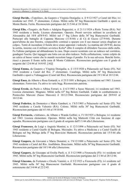 Da Giorgi Davide A Gori Emilio Comune Di Bologna