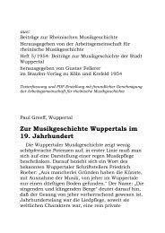 Zur Musikgeschichte Wuppertals im 19. Jahrhundert