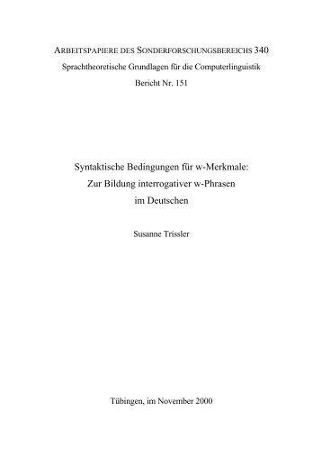 syntaktische w-Phrasen - TOBIAS-lib - Universität Tübingen