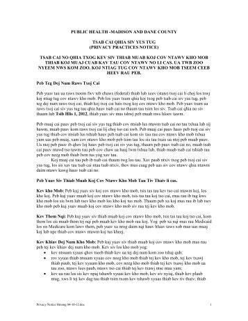 Tsab cai Qhia Siv Yus Tug - Public Health - Madison & Dane County