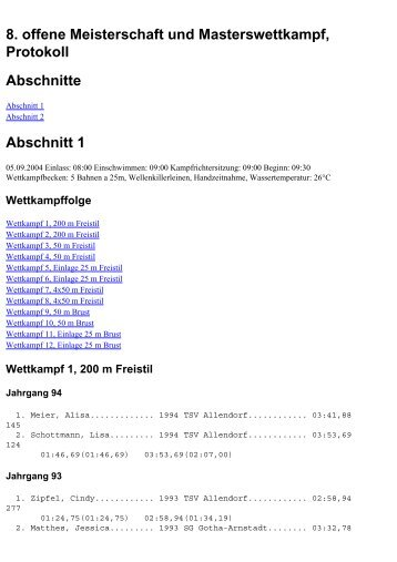 Wettkampf 3, 50 m Freistil - SGV Mühlhausen