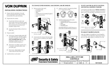 INSTALLATION INSTRUCTIONS 360L/L-BE/L-DT/T/T ... - Von Duprin