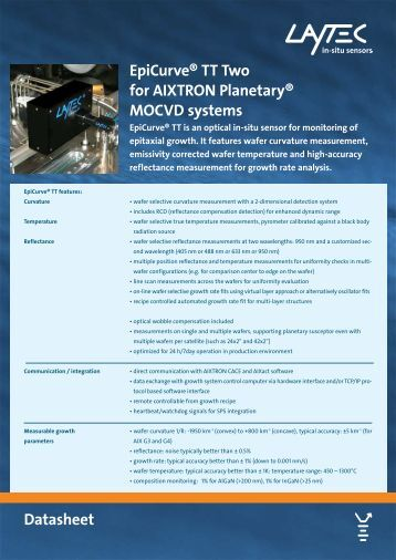 EpiCurve® TT Two for AIXTRON Planetary® MOCVD ... - Laytec