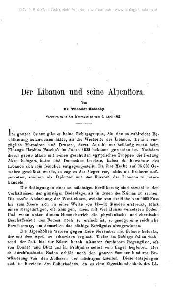 Der Libanon und seine Alpenflora.