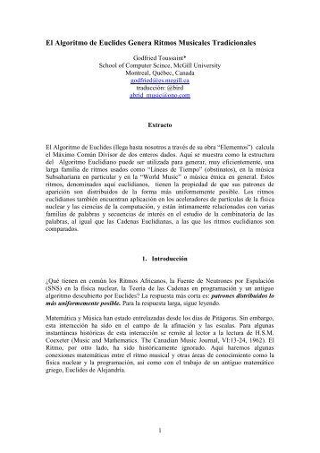 El Algoritmo de Euclides Genera Ritmos ... - Musicas a lo lejos