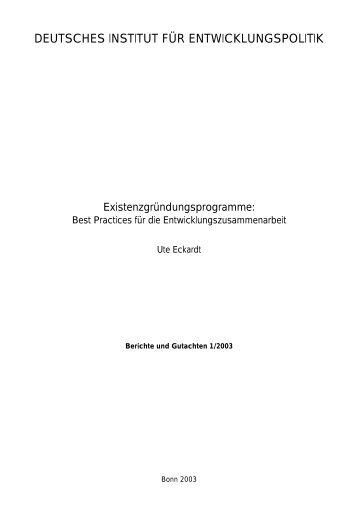 Existenzgründungsprogramme: Best Practices für die ...