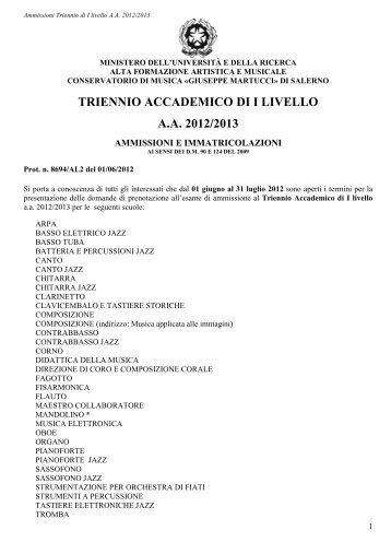 triennio accademico di i livello a.a. 2012/2013 - Conservatorio G ...