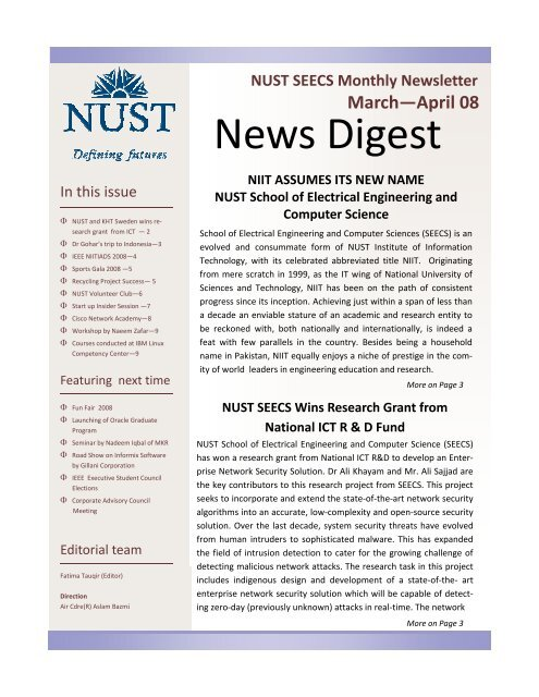 News Digest March April 2008 - NUST School of Electrical
