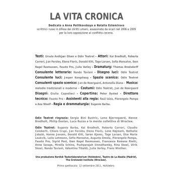 la vita cronica - Odin Teatret