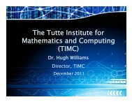 The Tutte Institute for Mathematics and Computing (TIMC)