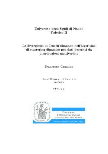 Universit`a degli Studi di Napoli Federico II La divergenza di Jensen ...