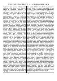 1 FASCICOLO DI INTEGRAZIONE PER I A – ANNO SCOLASTICO ...