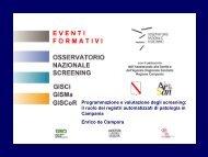 Programmazione e valutazione degli screening - GISCoR