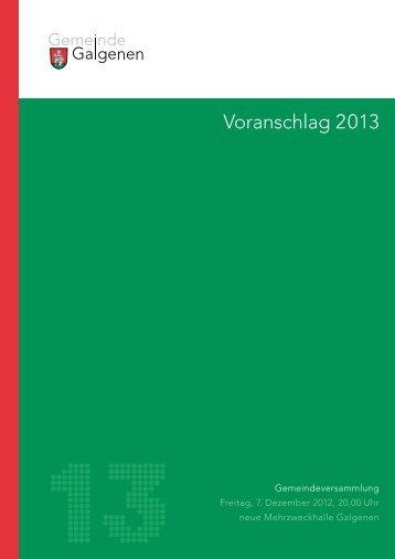 Budget 2013 - Galgenen