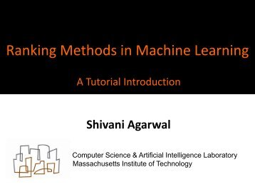 Tutorial on ranking methods in machine learning - Computer ...
