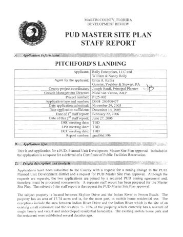 PUD MASTER SITE PLAN STAFF REPORT
