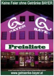 Bayerwein (Bouteillenwein siehe eigene Liste) - Getränke Bayer