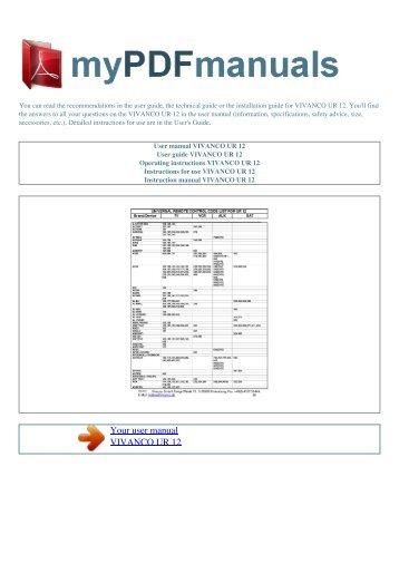 codelist ur 810 vivanco rh yumpu com Manuals in PDF Operators Manual