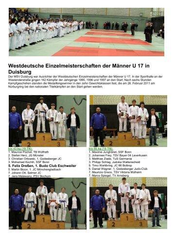 Westdeutsche Einzelmeisterschaften der ... - Judokreis Aachen