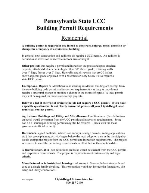 Pennsylvania State Ucc Building Permit Requirements
