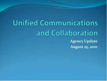 UCC Agency Update - August 25, 2010 - OITS