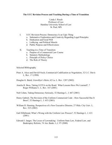 The UCC Revision Process and Teaching During a Time of ... - AALS