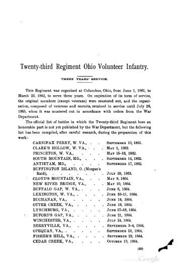 23rd Ohio Infantry Soldier Roster - Civil War Index