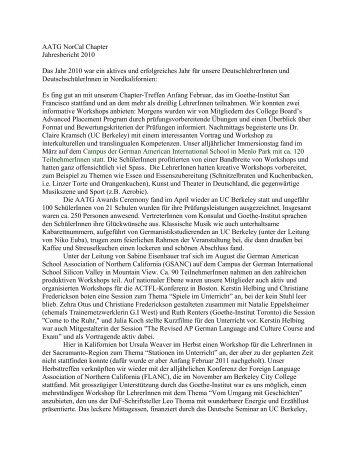 AATG NorCal Chapter Jahresbericht 2010 Das Jahr 2010 war ein ...